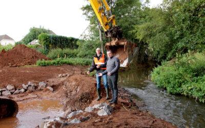 Verlegung des Veybachs an der Alten Tuchfabrik Euskirchen wird Anfang Oktober abgeschlossen